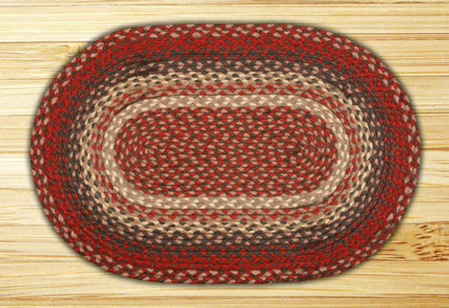 Earth Rugs™ oval braided jute rug in pictured in: Burgundy - C-012