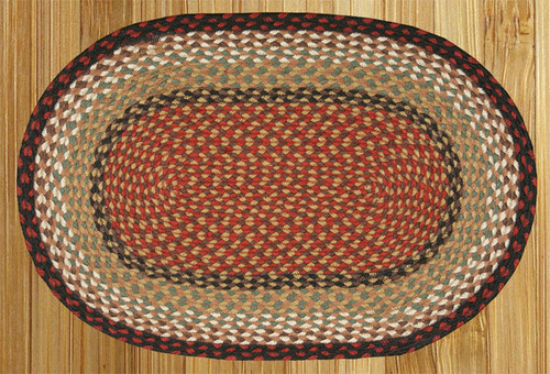 Earth Rugs™ oval braided jute rug in pictured in: Burgundy/Mustard - C-19