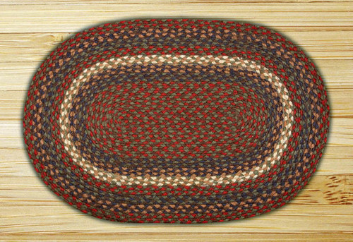 Earth Rugs™ oval braided jute rug in pictured in: Burgundy/Gray - C-40