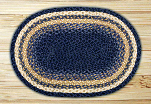 Earth Rugs™ oval braided jute rug in pictured in: Light & Dark Blue/Mustard - C-79