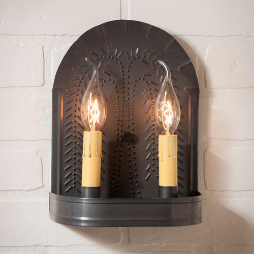 Irvin's Double Sconce With Willow Pattern Finished In Kettle Black