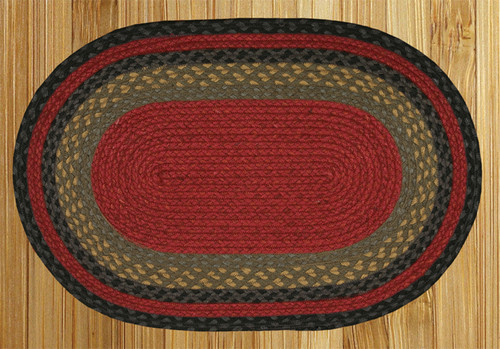 Earth Rugs™ oval braided jute rug in pictured in: Burgundy/Olive/Charcoal - C-238