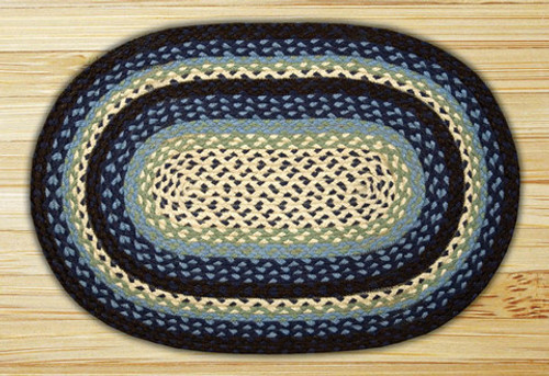 Earth Rugs™ oval braided jute rug in pictured in: Blueberry/Cream - C-312