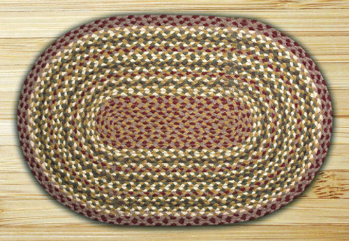 Earth Rugs™ oval braided jute rug in pictured in: Olive/Burgundy/Gray - C-324