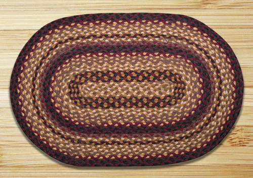 Earth Rugs™ oval braided jute rug in pictured in: Black Cherry, Chocolate, Cream - C-371