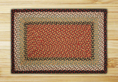 Earth Rugs™ Rectangle Braided Jute Rug Pictured In: Burgundy, & Mustard