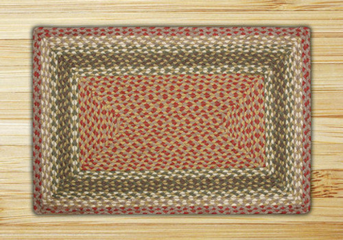 Earth Rugs™ Rectangle Braided Jute Rug Pictured In: Olive, Burgundy, & Gray
