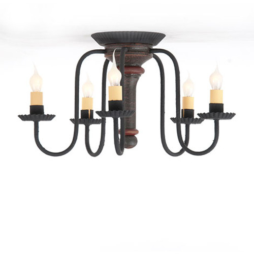 Irvin's Berkshire Ceiling Light In Americana Espresso With Red