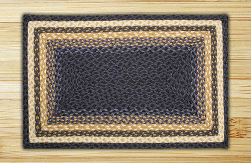 Earth Rugs™ Rectangle Braided Jute Rug Pictured In: Light & Dark Blue, & Mustard