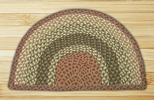 Earth Rugs™ Slice Braided Jute Rug Pictured In: Olive, Burgundy, & Gray