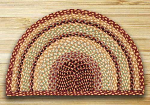 Earth Rugs™ Slice Braided Jute Rug Pictured In: Burgundy, Gray, & Cream
