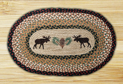 """Earth Rugs™ Oval Patch Rug - 20"""" x 30"""" Moose & Pinecone - OP-019"""