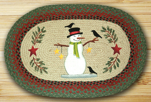 Earth Rugs™ Oval Patch Rug - Snowman With Crow - OP-025