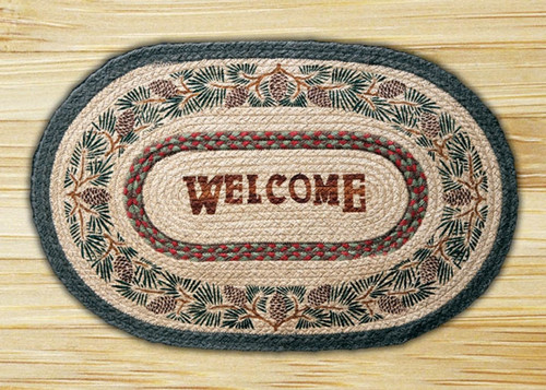 Earth Rugs™ Oval Patch Rug - Pinecone Welcome - OP-081