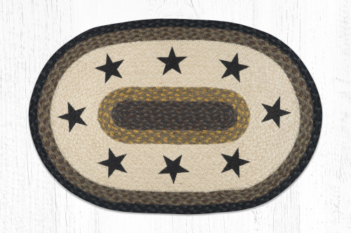 Earth Rugs™ Oval Patch Rug - Black Stars - OP-099