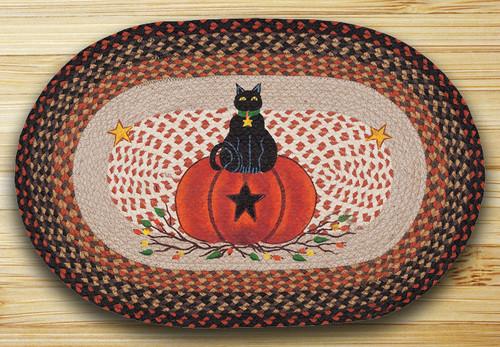 Earth Rugs™ Oval Patch Rug - Black Cat, Pumpkin - OP-222