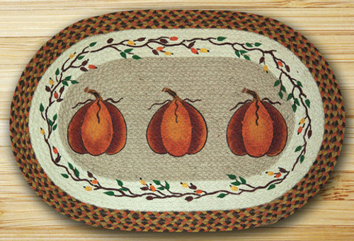 Earth Rugs™ Oval Patch Rug - Harvest Pumpkins - OP-222