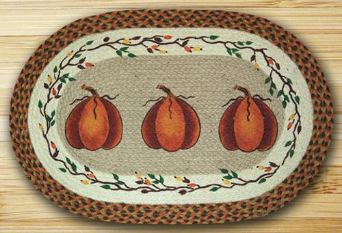 Earth Rugs™ Oval Patch Rug - Harvest Pumpkins - OP-222