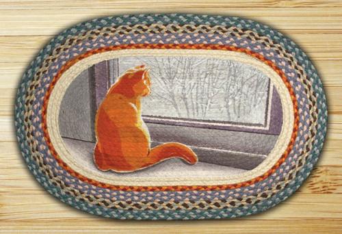 Earth Rugs™ Oval Patch Rug - Window Cat - OP-250