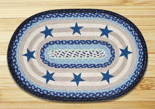 Earth Rugs™ Oval Patch Rug - Blue Stars - OP-312