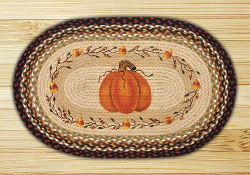 Earth Rugs™ Oval Patch Rug - Pumpkin Candy Corn - OP-319