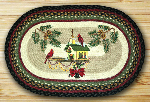 Earth Rugs™ Oval Patch Rug - Christmas Birdhouse - OP-338