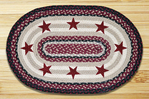 Earth Rugs™ Oval Patch Rug - Burgundy Stars - OP-344