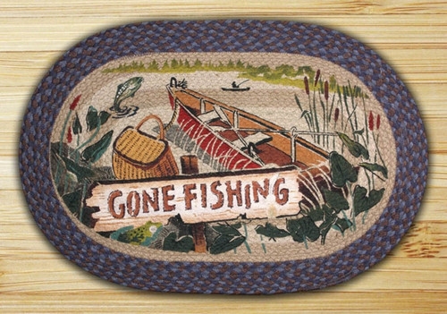 Earth Rugs™ Oval Patch Rug - Gone Fishing - OP-355