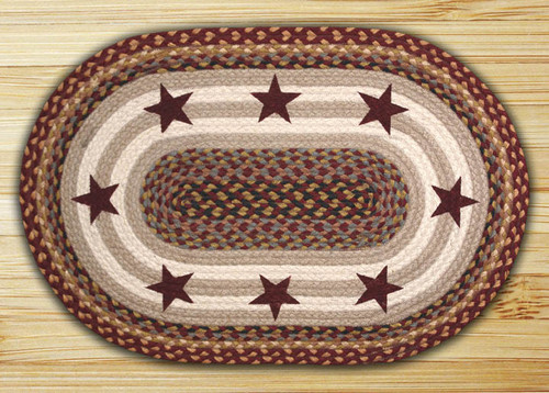 Earth Rugs™ Oval Patch Rug - Burgundy Stars - OP-357