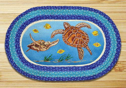 Earth Rugs™ Oval Patch Rug - Sea Turtles - OP-384