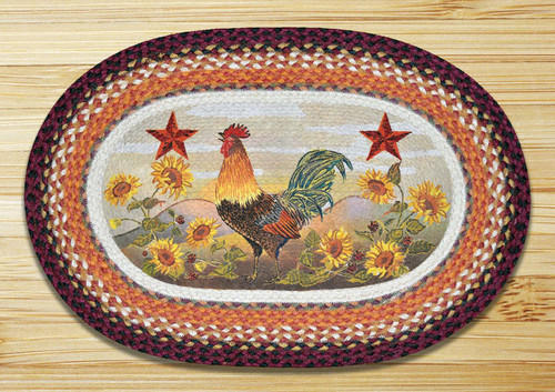 Earth Rugs™ Oval Patch Rug - Morning Rooster - OP-391