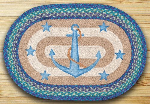 Earth Rugs™ Oval Patch Rug - Anchor Stars - OP-433