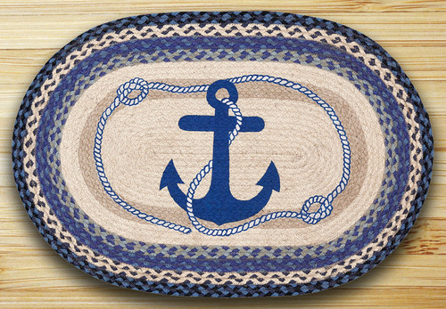 Earth Rugs™ Oval Patch Rug - Navy Anchor - OP-443