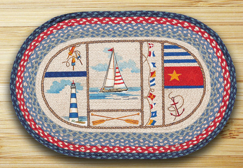 Earth Rugs™ Oval Patch Rug - Nautical Breeze - OP-458