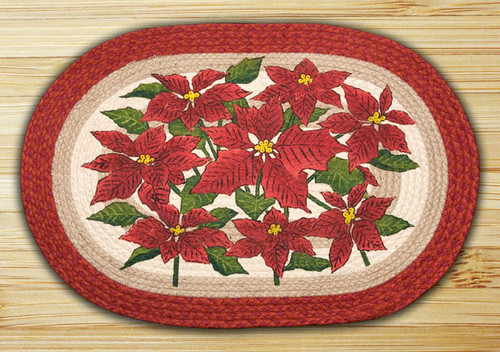 Earth Rugs™ Oval Patch Rug - Poinsettia - OP-460