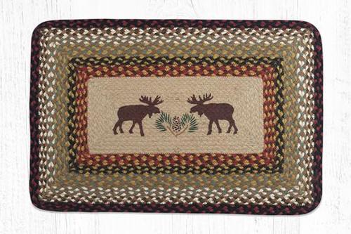 Earth Rugs™ Rectangle Braided Jute Rug - Moose & Pine Cones - PP-019