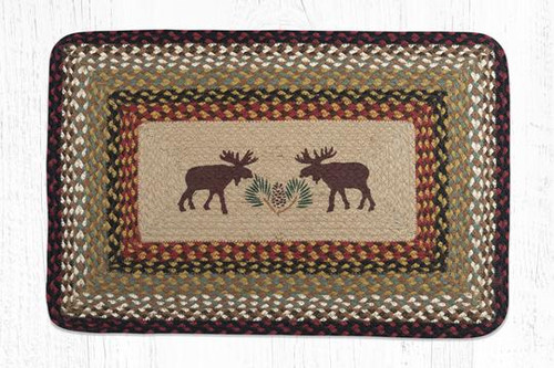 Earth Rugs™ Rectangle Braided Jute Rug - Moose & Pine Cones - PP-019