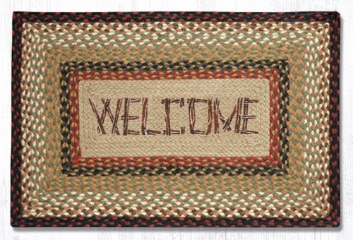 Earth Rugs™ Rectangle Braided Jute Rug - Welcome - PP-019