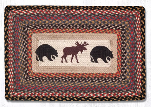 Earth Rugs™ Rectangle Braided Jute Rug - Bear & Moose - PP-043
