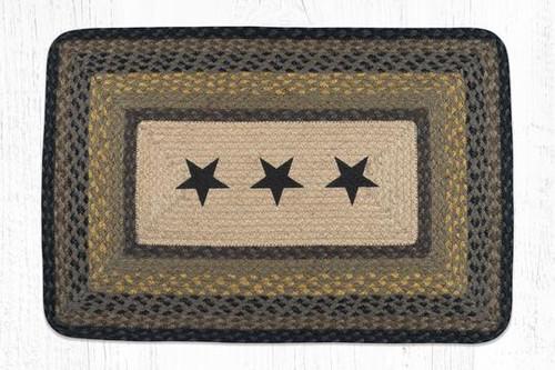 Oblong Braided Rug - PP-099 - Black Stars