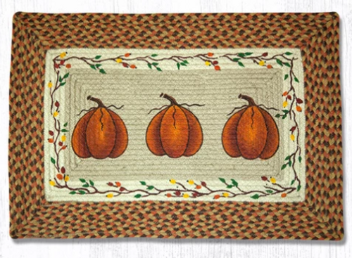 Earth Rugs™ Rectangle Braided Jute Rug - Harvest Pumpkins - PP-222