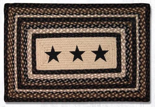 Earth Rugs™ Rectangle Braided Jute Rug - Black Stars - PP-313