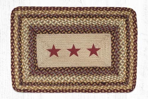 Earth Rugs™ Rectangle Braided Jute Rug - Burgundy Stars - PP-357