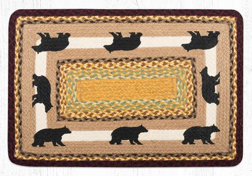 Oblong Braided Rug - PP-395 - Cabin Bear