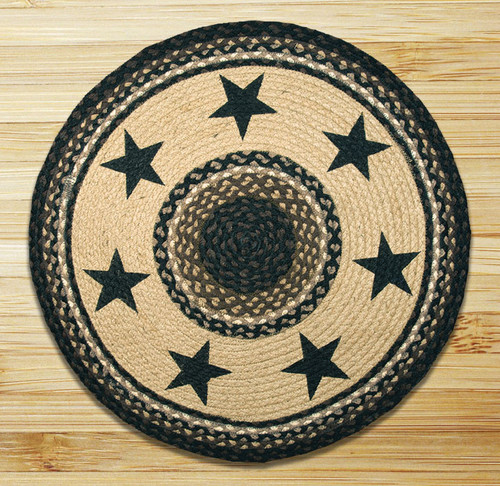 Earth Rugs™ Oval Patch Rug - Black Stars - RP-313
