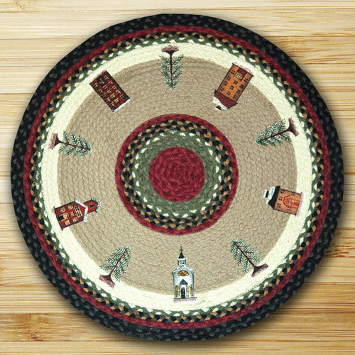 Earth Rugs™ Oval Patch Rug - Winter Village - RP-338