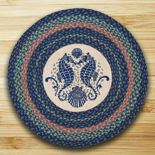 Earth Rugs™ Oval Patch Rug - Shell Coast Seahorse - RP-453