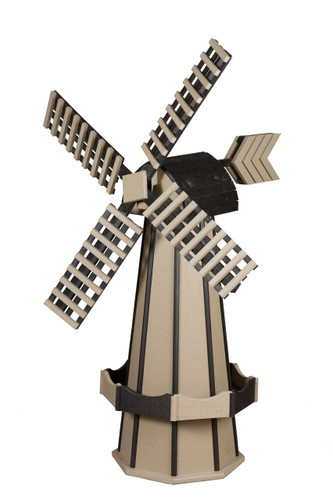 Amish Crafted Poly Windmill Medium Finished In Primary Color: Weatherwood, Accent/Trim Color: Black