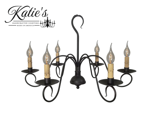 Katie's Handcrafted Lighting Franklin Chandelier Finished In Aged Black Finish