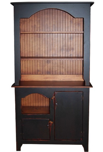 Amish Handcrafted Colonial Hutch by Vintage Creations By Sam - Finished In Antique 2-Tone Black With Heritage Stain